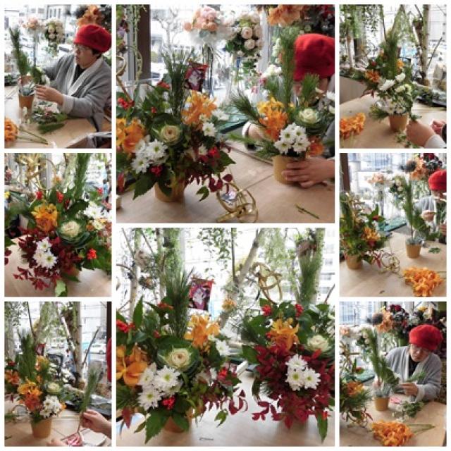 お正月のフラワーアレンジレッスン