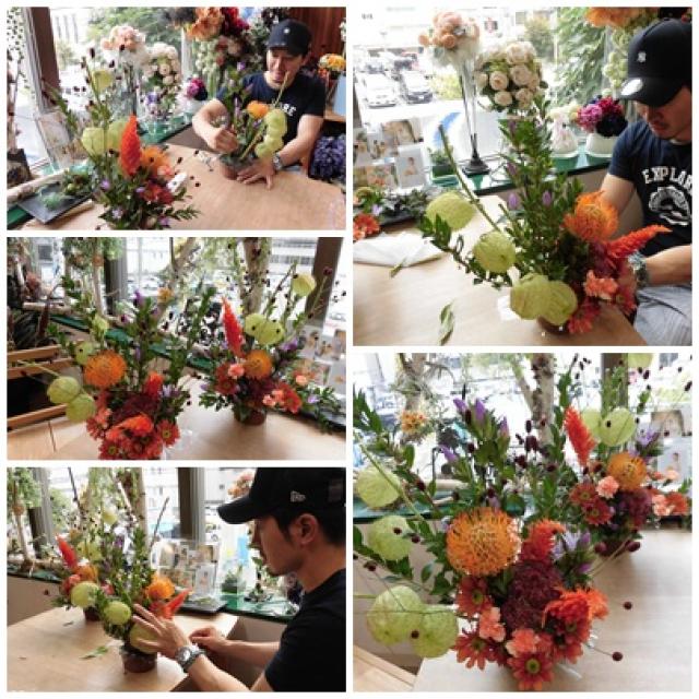 秋のフラワーアレンジレッスン