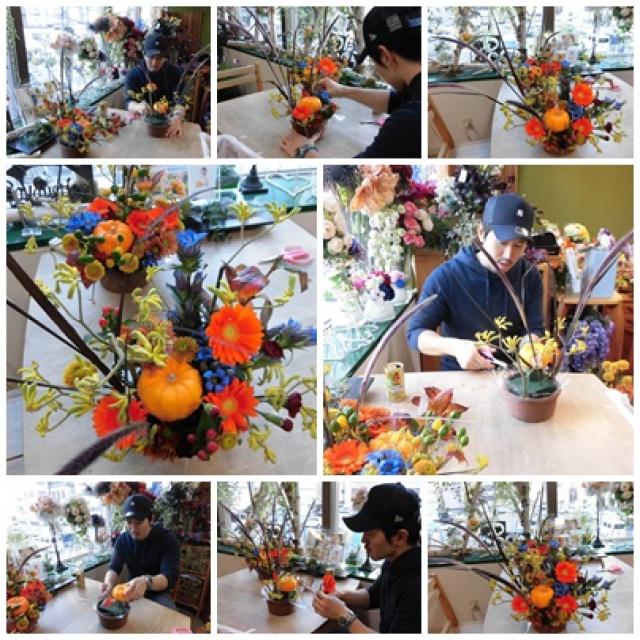 ハロウィンのフラワーアレンジ