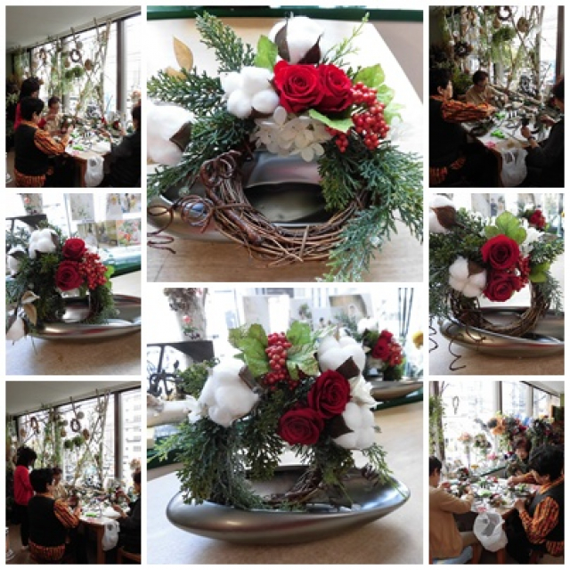 プリザーブドフラワーのクリスマスアレンジレッスン