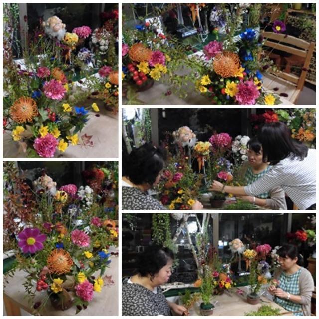 秋のアレンジ生花のレッスン