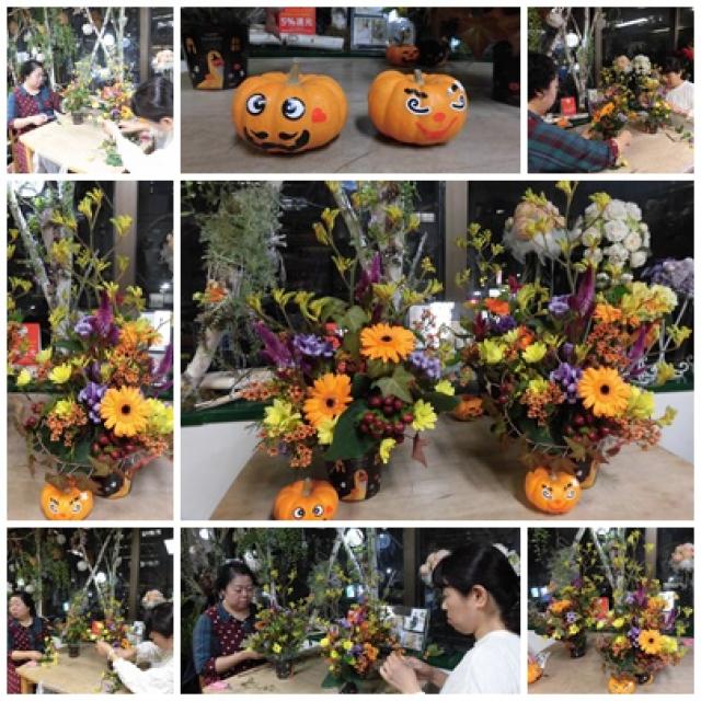 マンスリーレッスン10月ハロウィンのフラワーアレンジ