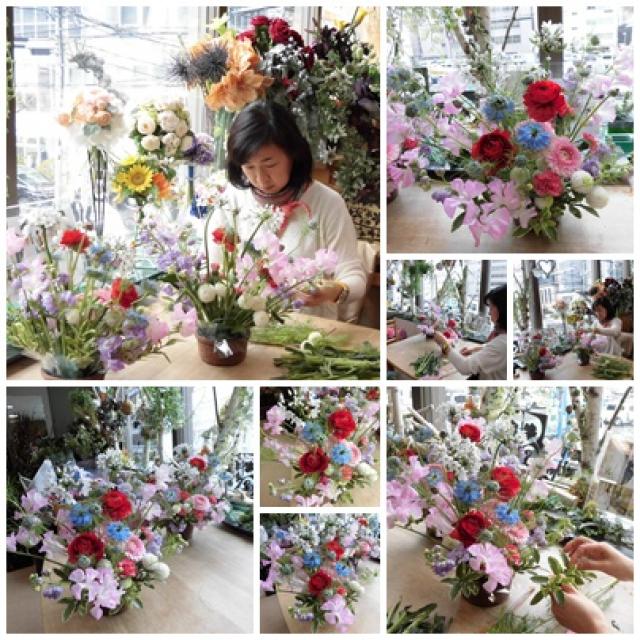 春の花のフラワーアレンジメントレッスン
