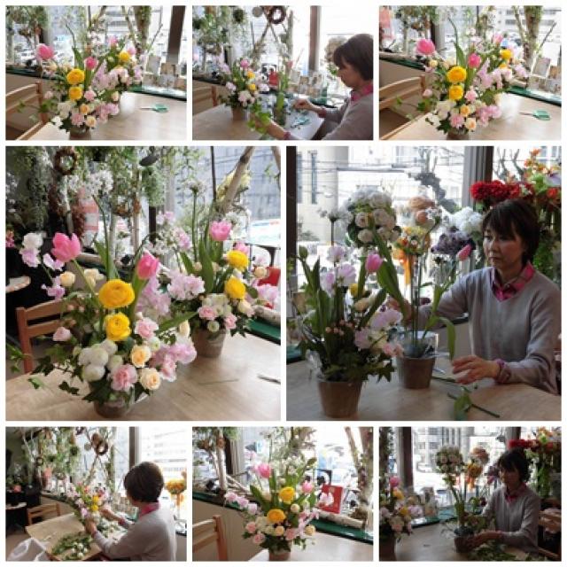 春の花いっぱいの生花のレッスン