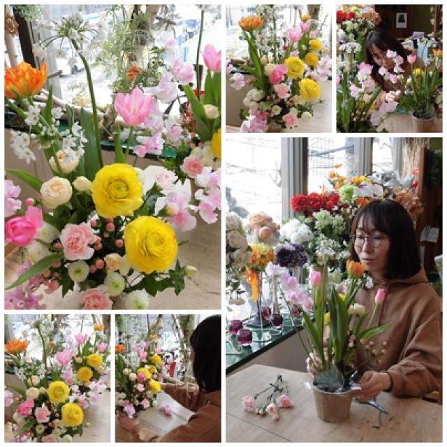 春の花いっぱいのフラワーアレンジレッスン